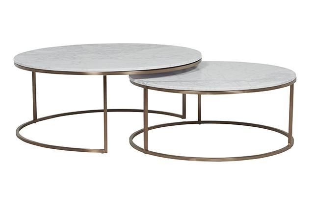 Globe West Elle Nest Coffee Table White Marble With Brass Or