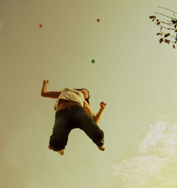 #jump #girl #sky #tree #balls