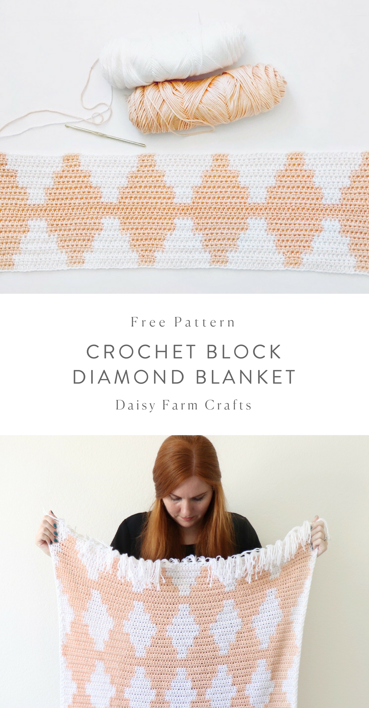 Free Pattern - Crochet Block Diamond Blanket #crochet | Crochet ...