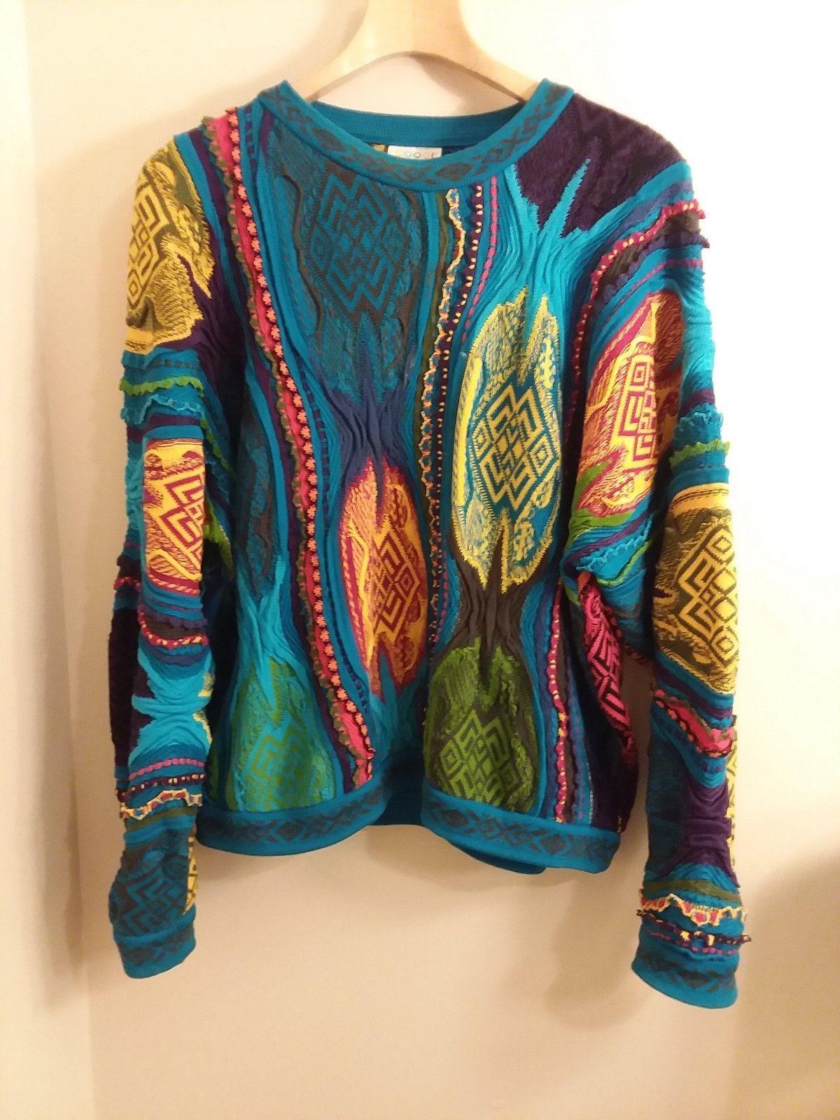 5d42d5ae82d 90s Vtg COOGI Australia blue Sweater XL CRAZY KNIT mercerised cotton ...