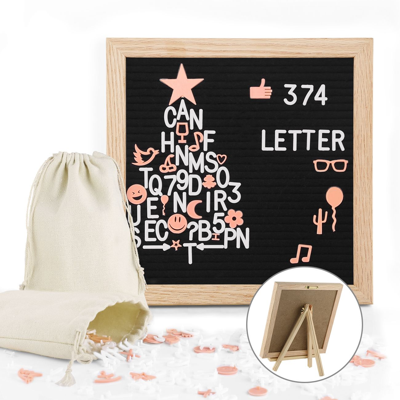 Premium Changeable Felt Letter Board Frame 10x10 Inches Diy Decorative Message Sign Oak Wooden Letter Boards Wi Diy Letter Board Diy Letters Felt Letter Board