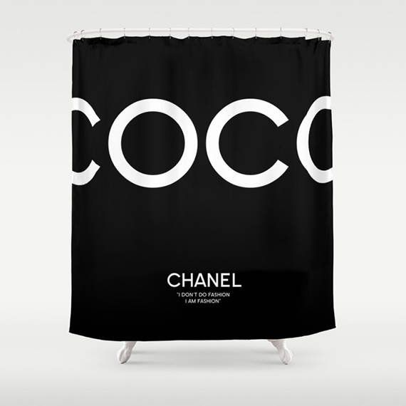 Black And White Bathroom Decor Coco Chanel Shower Curtain Home Print