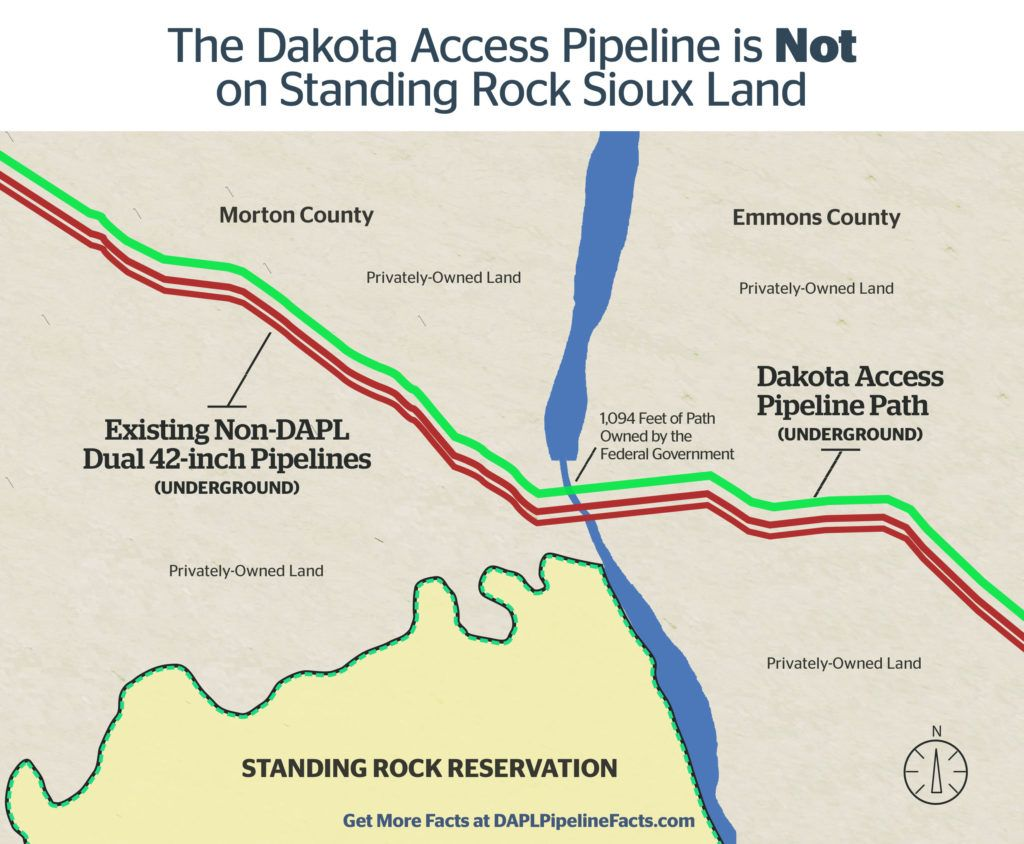 Map showing Dakota Access Pipeline going through private land ...
