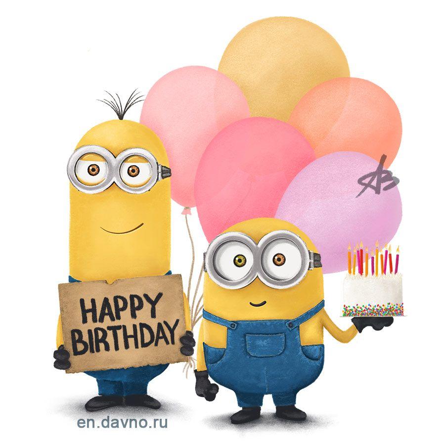 Custom Hand Drawn Minions Card With Birthday Cake Download On Davno
