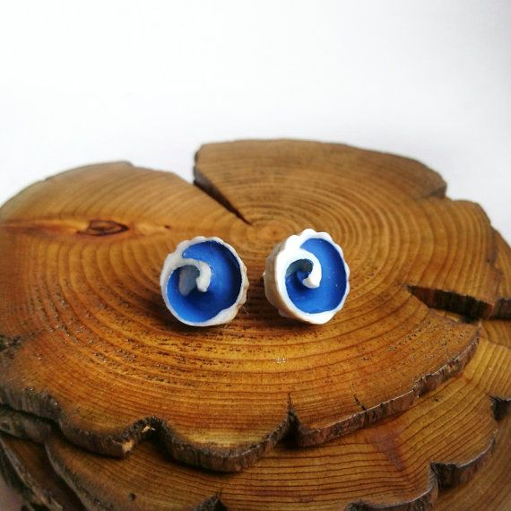 "Handpainted ""wave"" seashell stud earrings by B EN T Art & Accessories"
