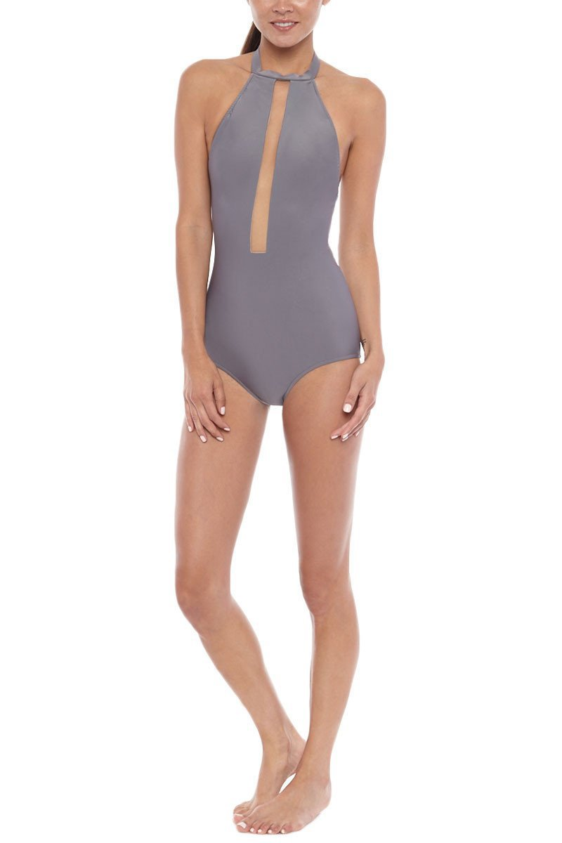 a78e2b56e7 STYLE: - Bold, high neck one piece swimsuit with plunging mesh paneling for  an illusion effect. - Elegant fabric in matte truffle grey color and choker  neck ...