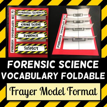 Forensic Science Vocabulary - Foldable - Frayer Model Format - frayer model template