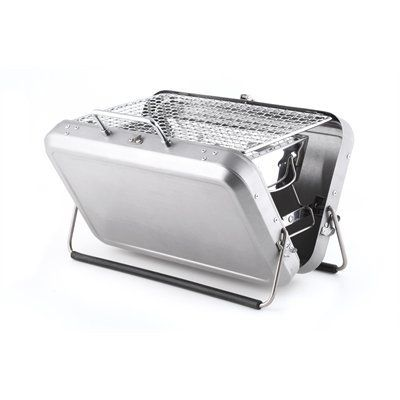"""This versatile portable charcoal grill is a great way to grill food for two people on the go. Just unfold the case and follow the simple instructions for instant grilling. A convenient mess-free ash catcher reduces cleanup, while a lock keeps it securely closed for easy and safe transport. Stainless steel. 12.5"""" x 8.7"""" x 2.8""""."""