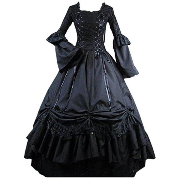 be873ebc4b09d Hello-cos Womens Black Vintage Gothic Square Collar Victorian Party ...
