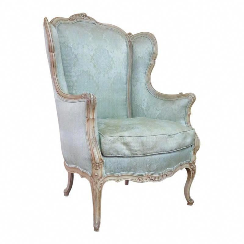 French Carved Cream Wingback Chair White Leather Dining