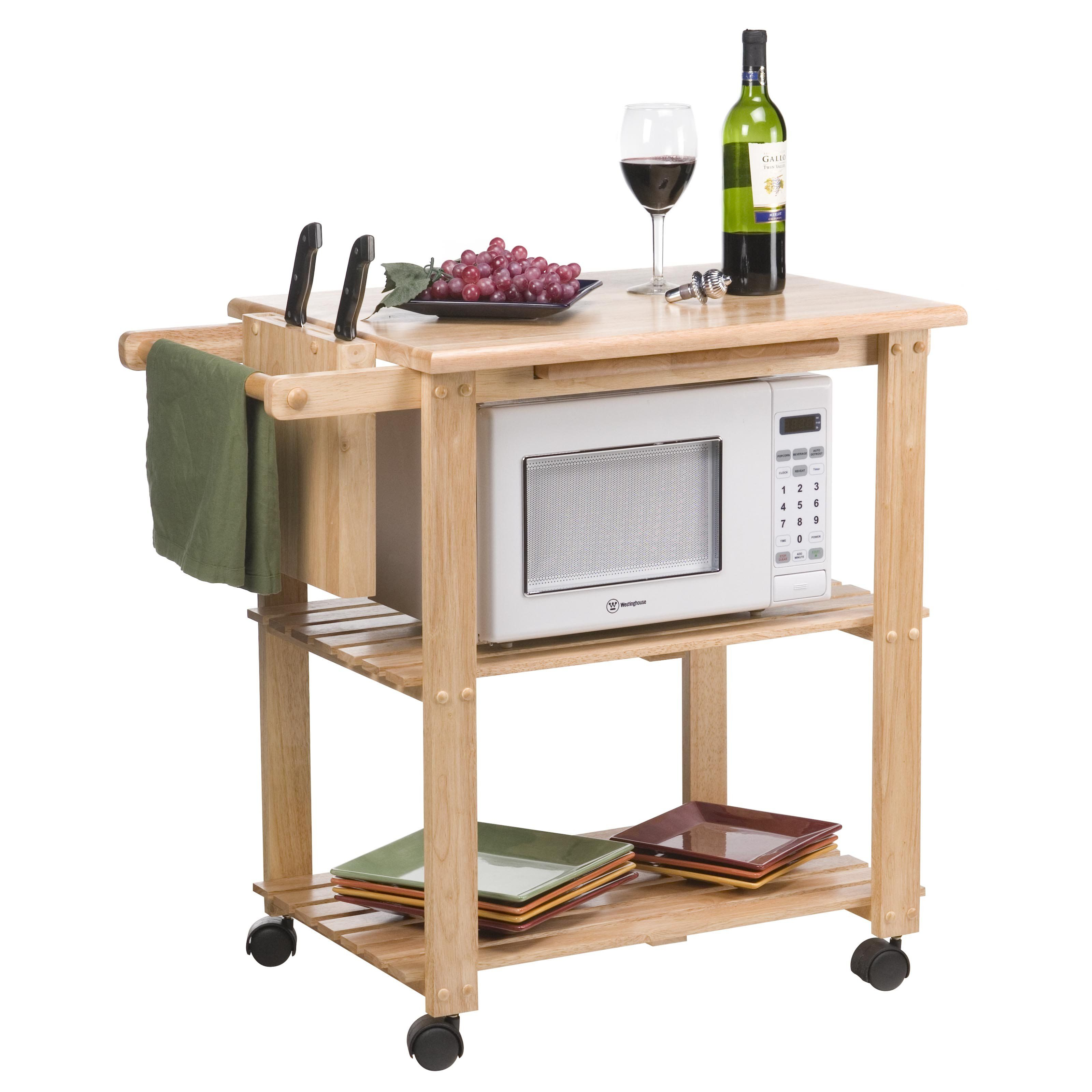 Great The Stetson Microwave Cart   This Convenient Wooden Utility Kitchen Cart  Adds Working And Storage Space To Your Kitchen Or Dining Area.