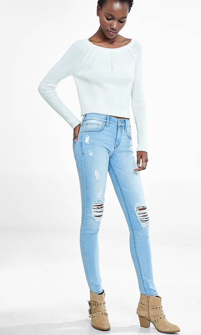 9786ad9a9977f light mid rise distressed jean legging Ripped Jeggings, Skinny Jeans, White  Leggings, Denim