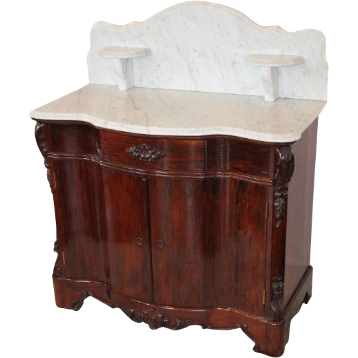 OUTSTANDING RARE 1860's American Rococo Rosewood Full Commode/Washstand or Nightstand
