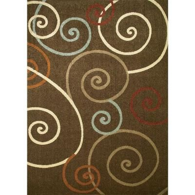 Concord Global Trading Chester Scroll Brown 3 Ft X 4 Ft Area Rug