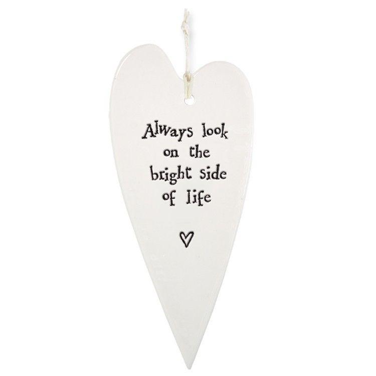 Bright Side Of Life Porcelain Hanging Heart