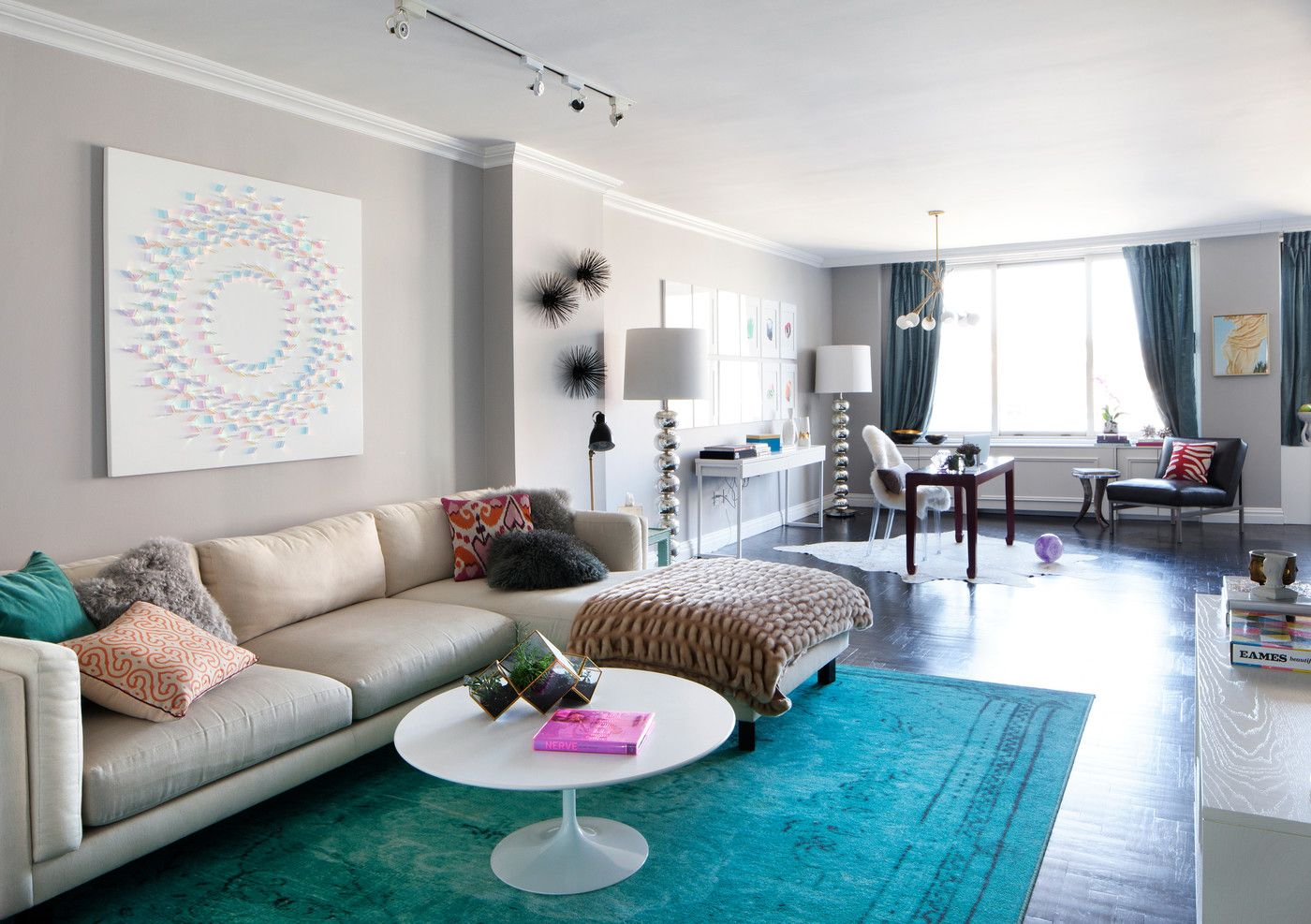 Contemporary Living Room Photos | Colorful throw pillows, White ...