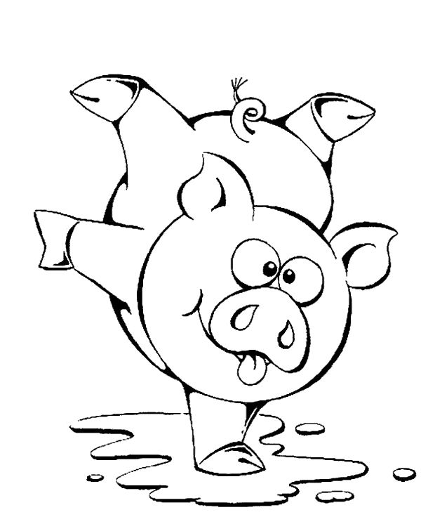 Dance Of The Pig Coloring Pages Pictures Pig In The Mud Cartoon