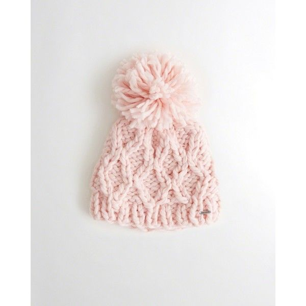 3256c15e598 Hollister Pom-Pom Cable Knit Beanie ( 25) ❤ liked on Polyvore featuring  accessories