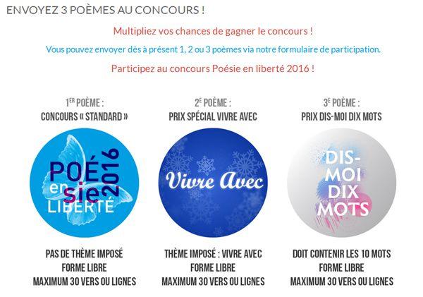 Envoyez 3 poèmes au concours ! #poésie #liberté #DisMoiDixMots #printempsdespoetes #slff16