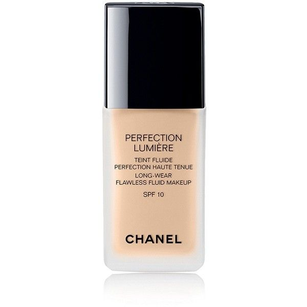 CHANEL PERFECTION LUMIÈRE Long-wear Flawless Fluid Makeup SPF10 ($54) ❤ liked on Polyvore