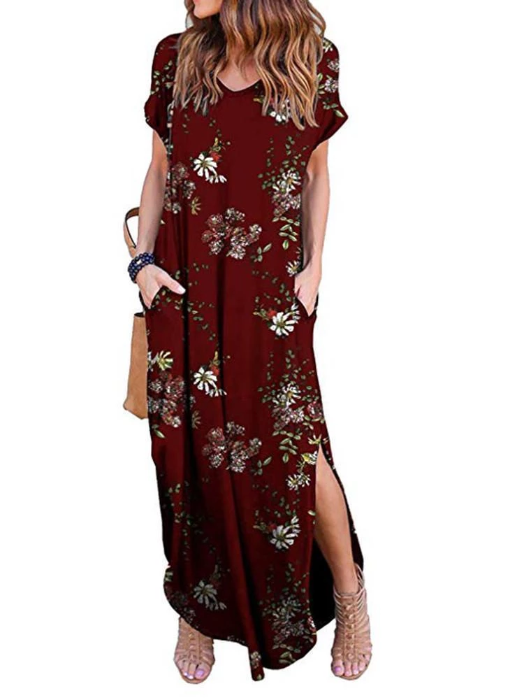 Casual Loose Long Dresses With Pockets For Women Shrural Com Weslily Com Casual Dresses For Women Short Sleeve Maxi Dresses Long Dress Casual