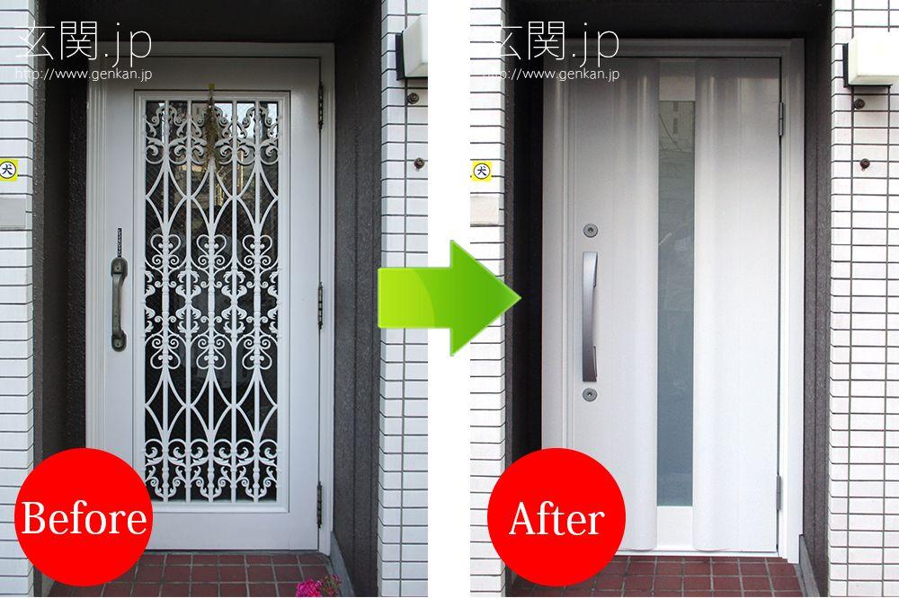 ホワイト 白色 玄関ドアに交換した東京都s様邸の施工例 玄関ドア