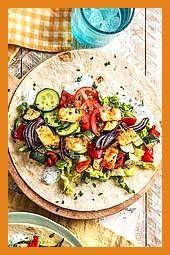 Dürüm Döner mit Halloumi würzigem Ofengemüse und Knoblauchjoghurt #Döner #Dürüm #Fitness food easy #...