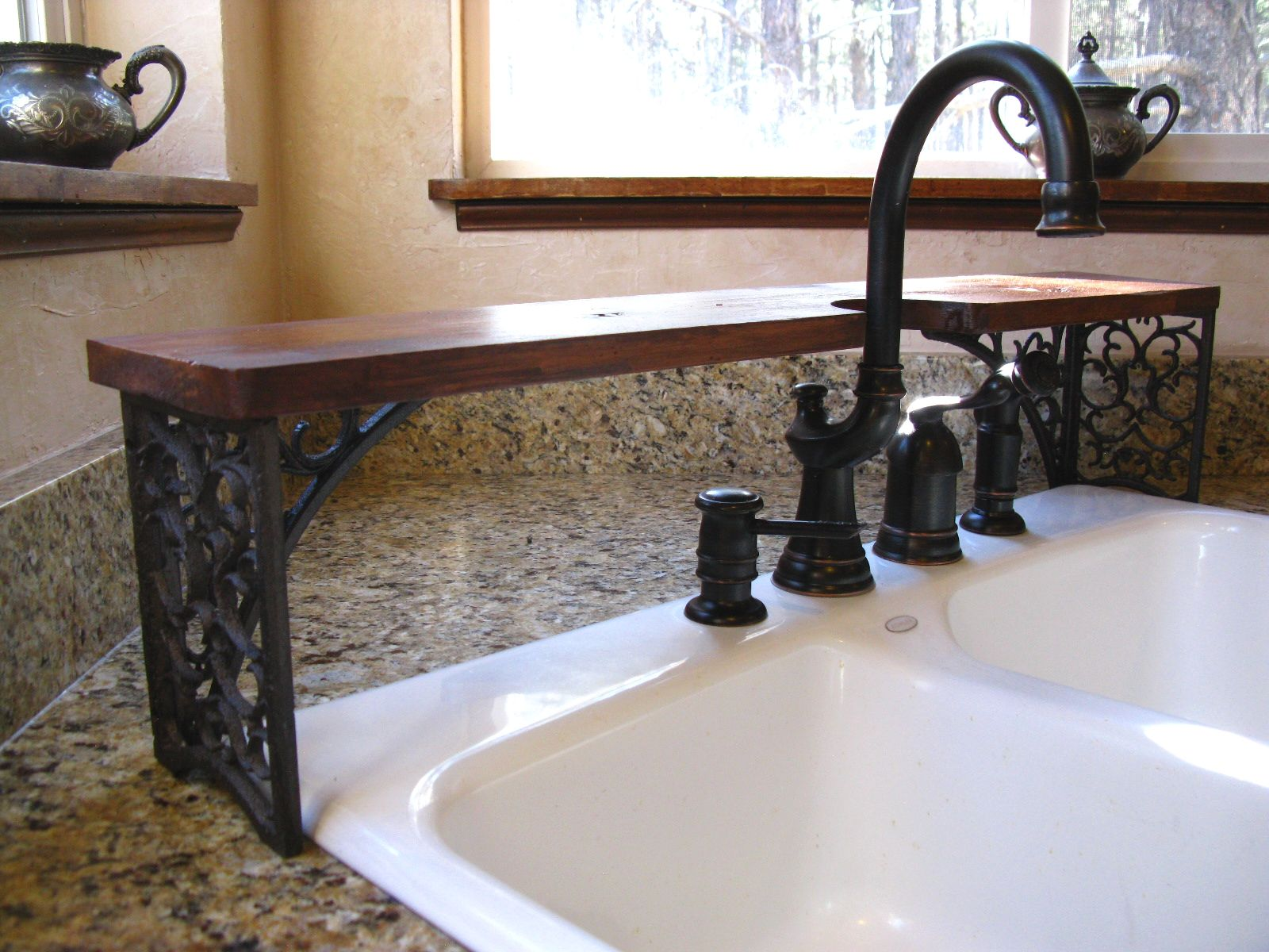 Over-the-Sink Shelf Cutout Galley Kitchen Faucet wrought iron wood ...