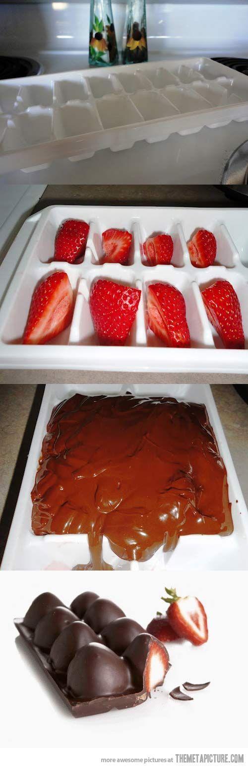 barra de chocola com morangos