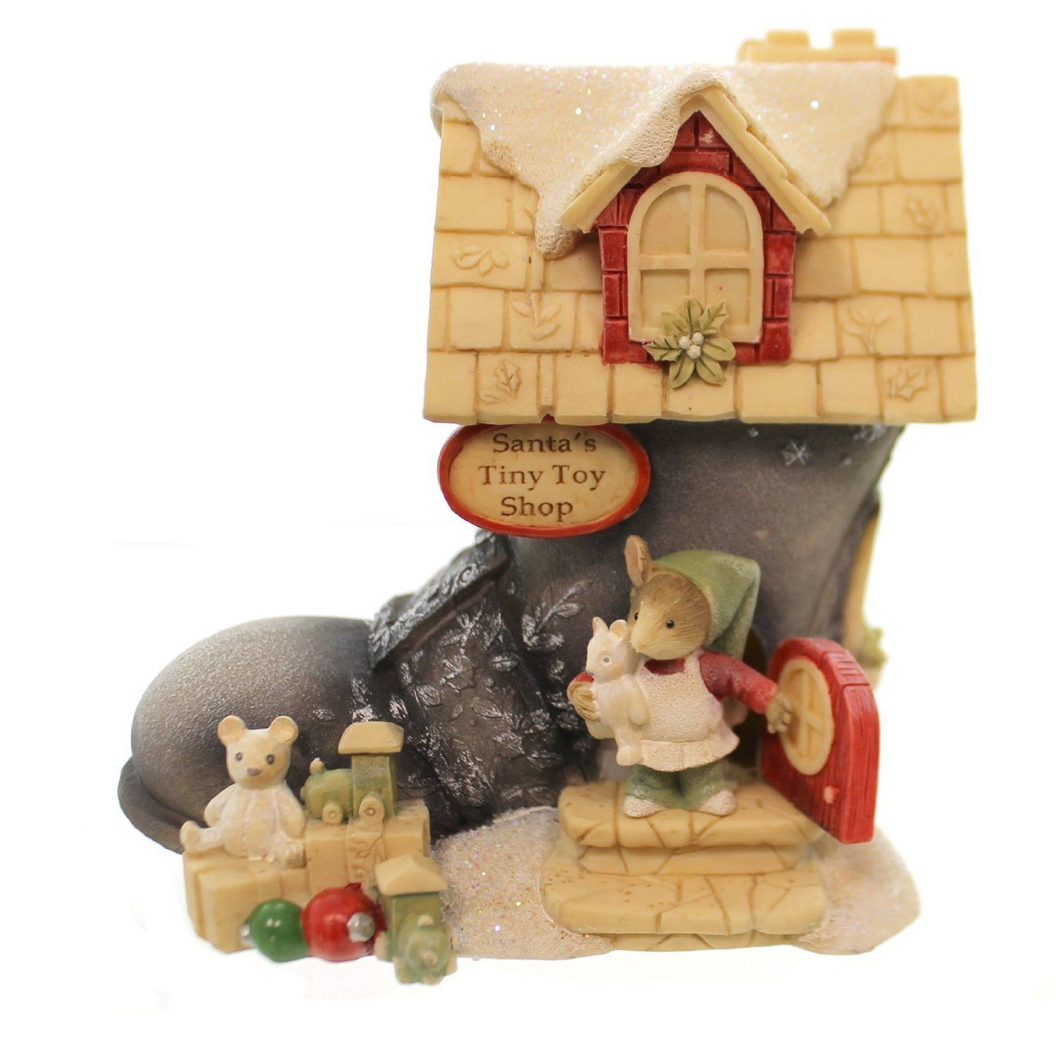 Enesco Heart of Christmas Lights Santa's Boot Mice House Figurine ...