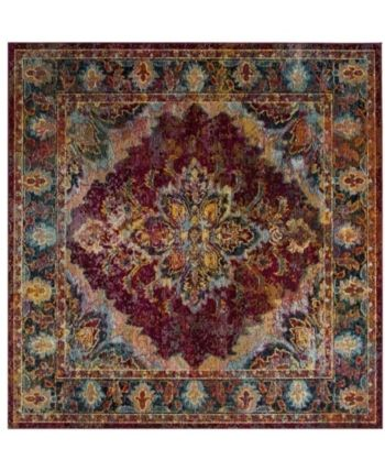 Safavieh Crystal Ruby And Navy 7 X 7 Square Area Rug Ruby Red