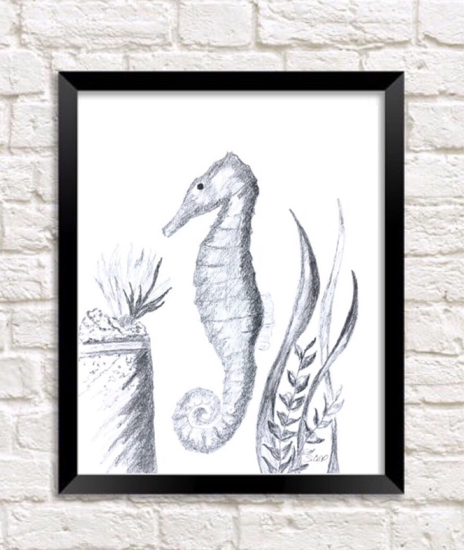 Seahorse art pencil drawing original coastal art aquarium art