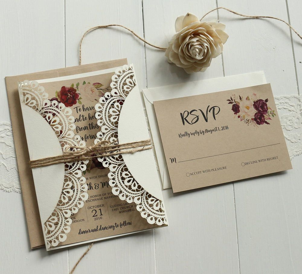 Off White Lace Wedding Invitations Set Rsvp Cards Included S