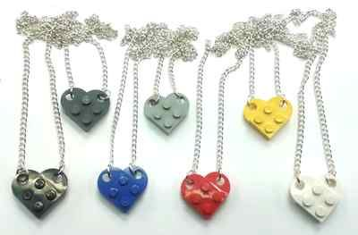 Lego Heart Handmade Necklace Silver Plated Chain 17inch | eBay
