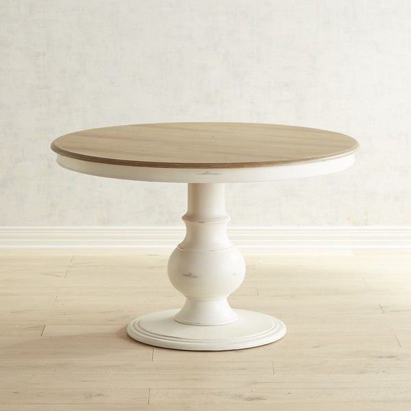 Pier 1 Imports Chloe 42 Rain White Dining Table 450 Liked On Polyvore Featuring Home Pedestal Kitchen Table Dining Room Table Small Round Kitchen Table
