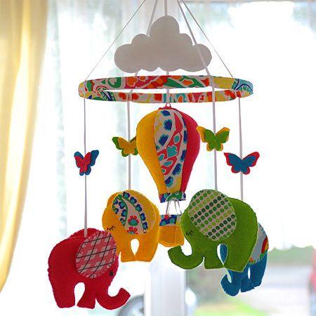Ideas For Felt Nursery Mobile Balloon Mobile Elephant Mobile Crafts