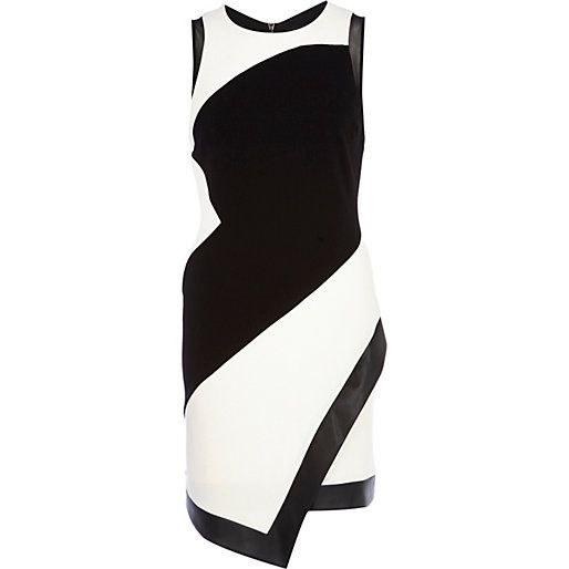Black And White Mesh Panel Wrap Bodycon Dress Riverisland Just