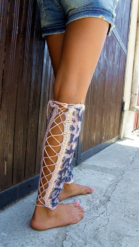 DENIM LACE Up BOOTS Summer Leg Warmers All Size By JenitBoutique $46.00 | All Knitting And ...