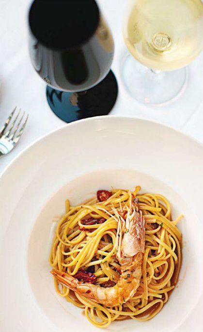 Mexico Live Aqua Resort shrimp pasta - #junkdotcom http://junkystravels.weebly.com/mexico.html