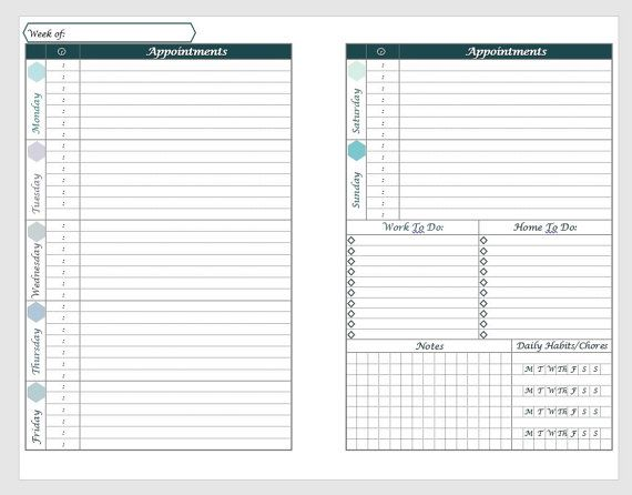 Printable A Horizontal Weekly Planner Layout With Daily