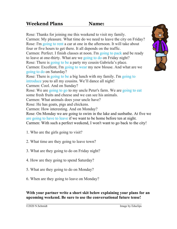 Weekend Plans in English: Conversational Future: Englisch / Text