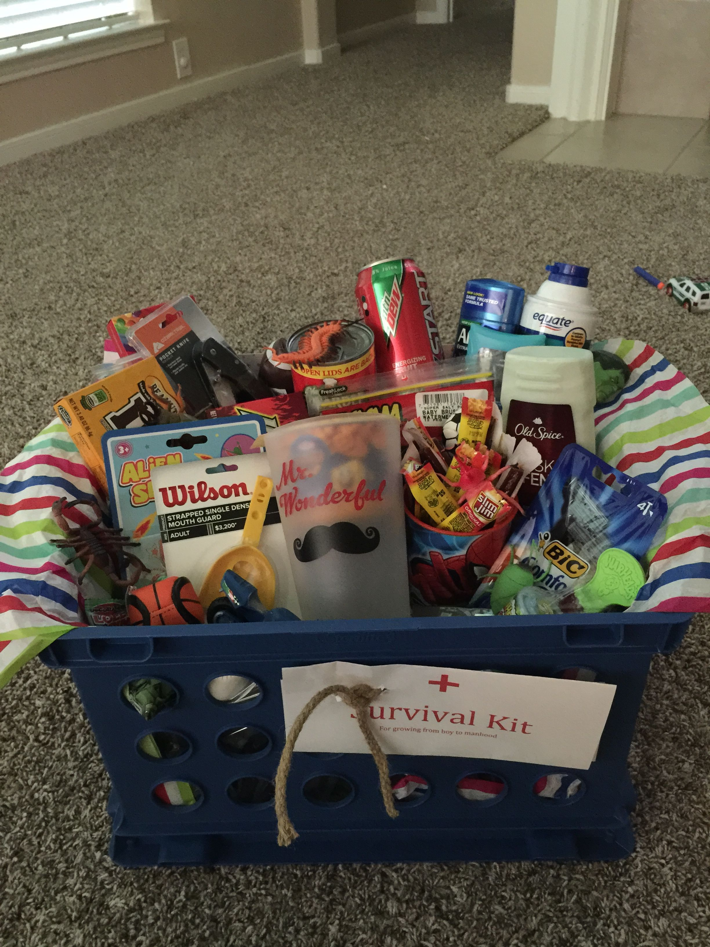 Teenager survival kit awesome gift basket for a teenage for Hampers for kids rooms
