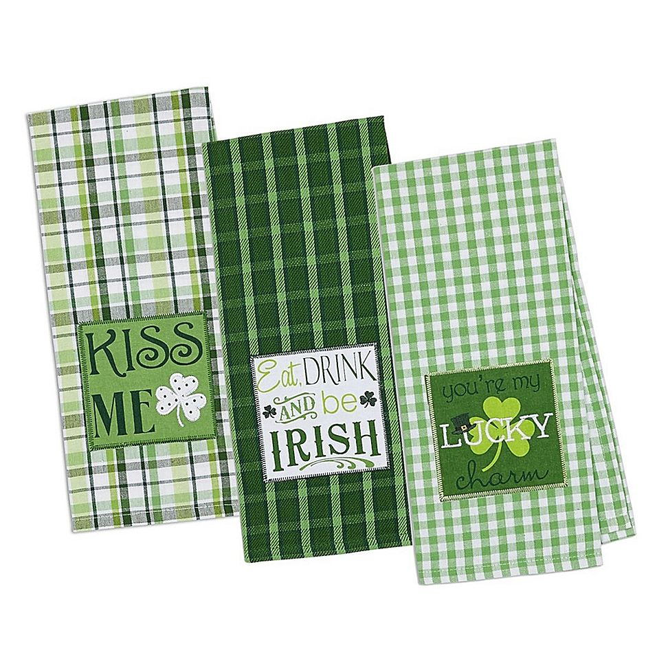 Design Imports 3 Pack St Patrick S Day Emroidered Kitchen Towels