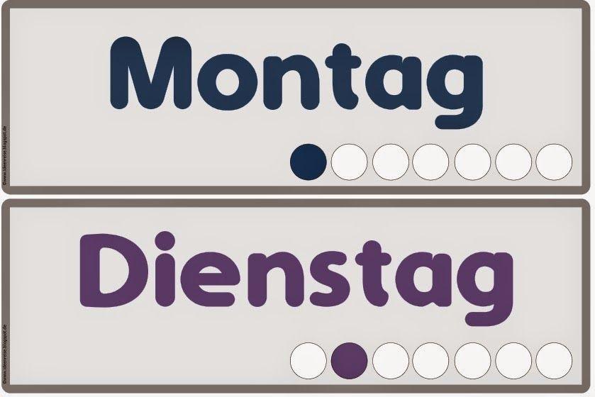 ideenreise die wochentage auf deutsch wortkarten 1 klasse pinterest deutsch. Black Bedroom Furniture Sets. Home Design Ideas
