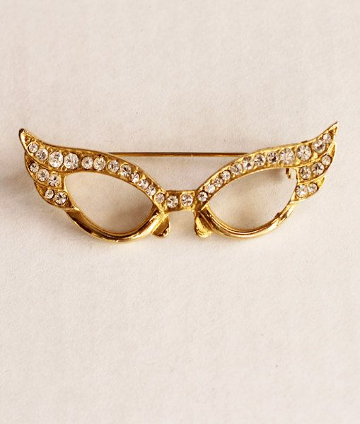 1950s Cat Eye Glasses Pin