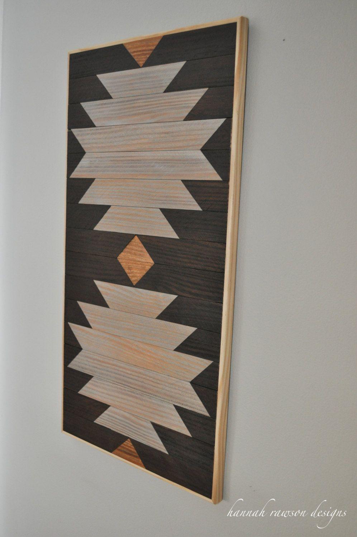 Rustic boho aztec wood wall art x by hannahrawsondesigns