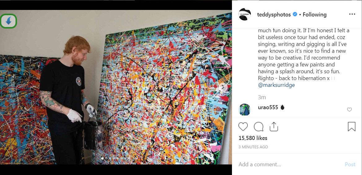Ed Sheeran reveals huge painting that took him a MONTH as