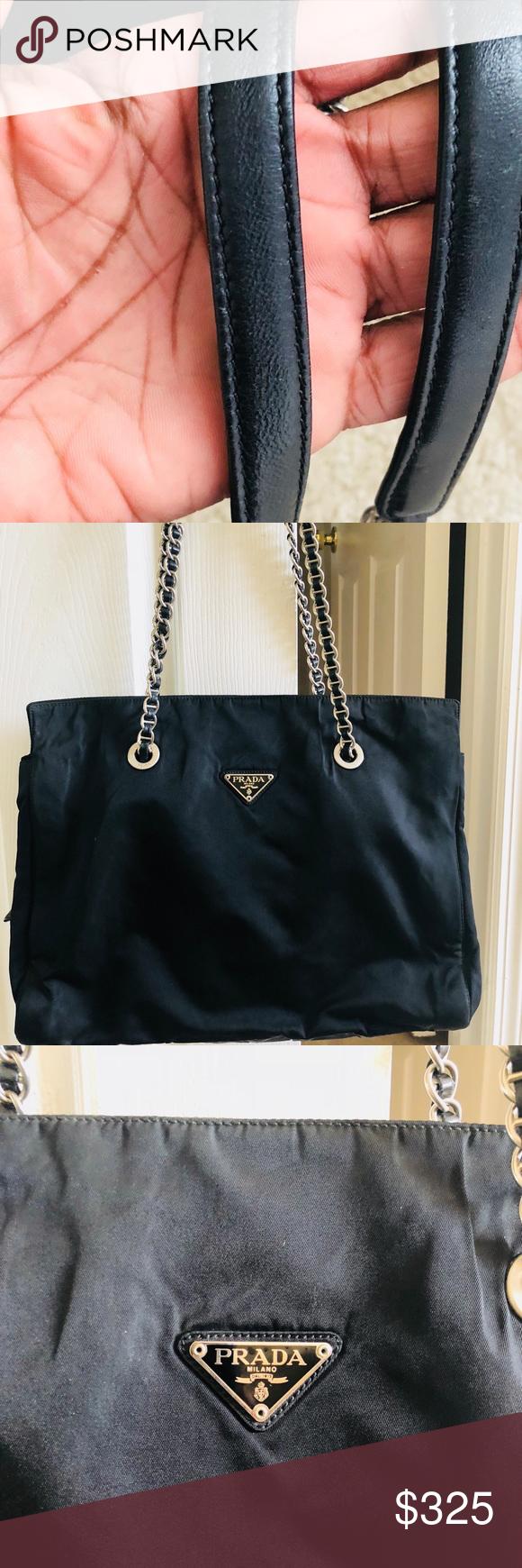 0185000a1fde Vintage Authentic PRADA Nylon Shoulder Bag Vintage Prada Bag is an original  strap soft bag. Large bag with a center zipper pouch and two size pockets.