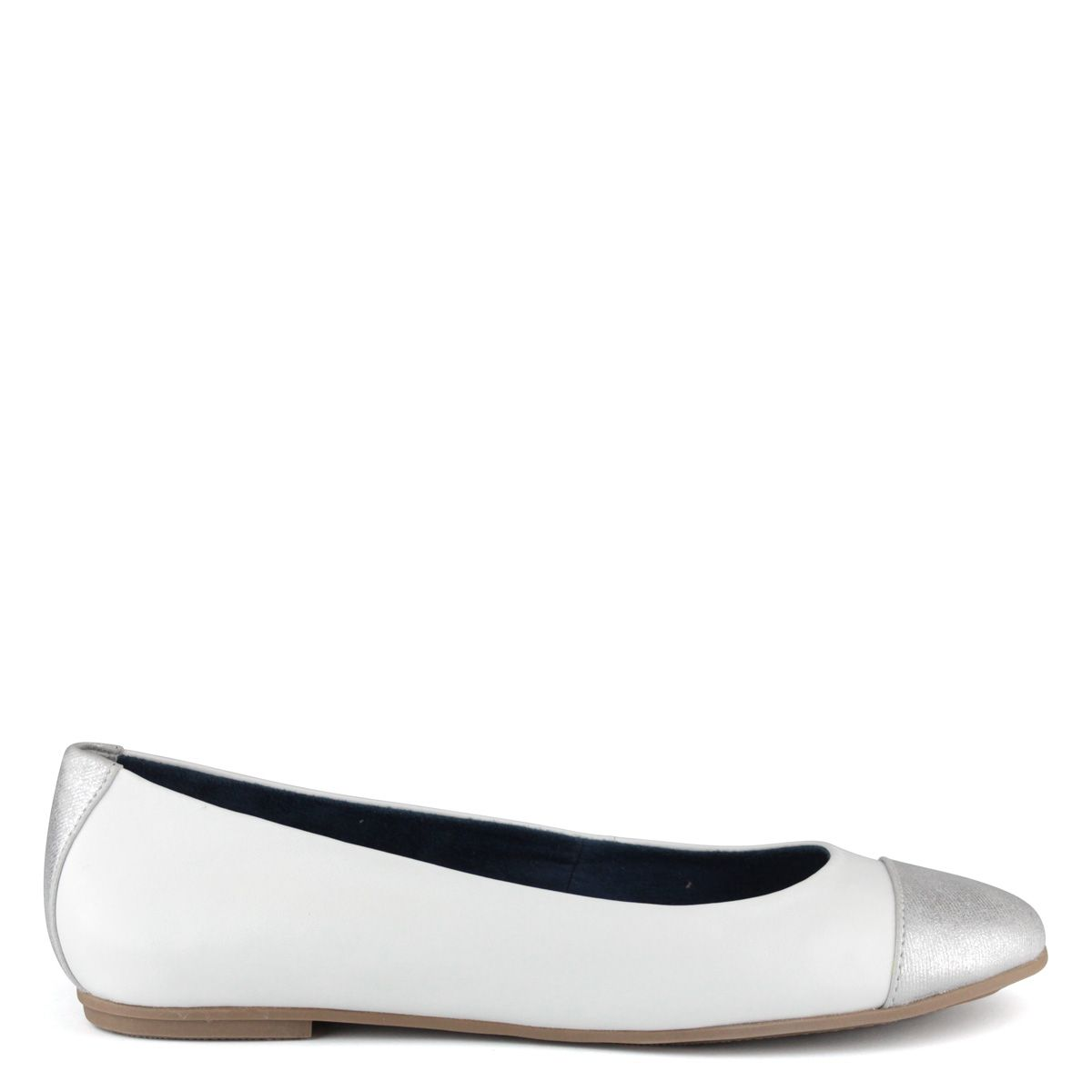 Fehér-ezüst Tamaris balerina cipő  5bd722d9dc