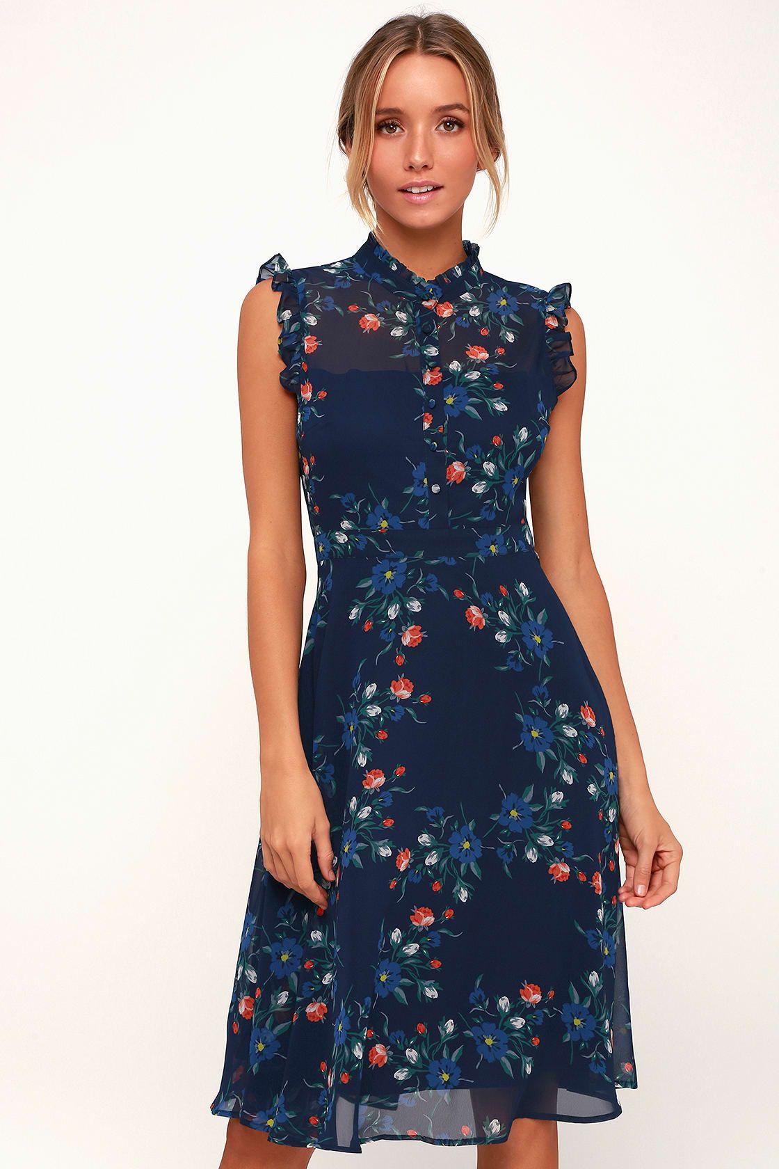 34+ Blue floral print skater dress trends